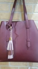 Handbag Burgundy Bag with Snap Sides and Accessory Pouch