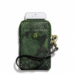 Coach Signature Cellphone Case - Green Embossed Snake Universal Cellphone Case