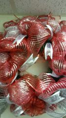 Holiday Wreath Red and Silver