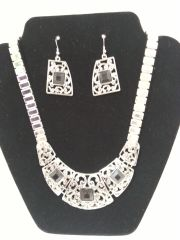 Jewelry Set - 2pc Necklace & Earring Set Silver/Black