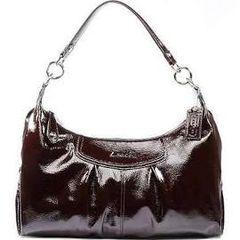 Coach 20452 Ashley Mahogany Brown Patent Leather Convertible Hobo HandBag