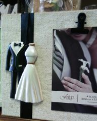 Wedding Wood Frame with Tuxedo and Wedding Dress