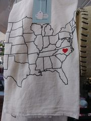 State of North Carolina Heart Tea Towel
