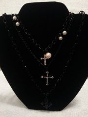 Jewelry Necklace Triple Chain Cross