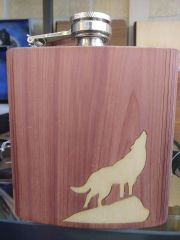 Flask Wooden Cover Wolf