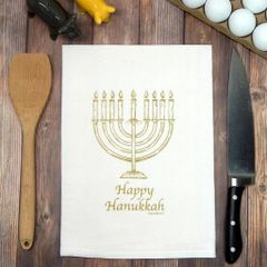 Flour Sack Tea Towel Happy Hanukkah