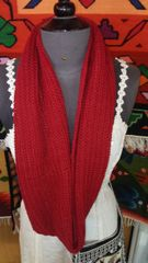 Hand Knit Baby Alpaca Infinity Scarf, Red