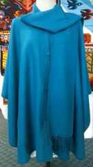 4 Button Alpaca cape with scarf teal