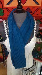 Hand Knit Baby Alpaca Infinity Scarf, Blue