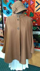 100% Alpaca Camel Colored 3-button up Cape w/ Hat