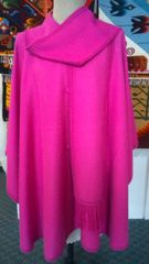4 Button Alpaca cape with scarf pink