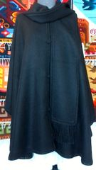 Four Button Alpaca Cape with Scarf, Black