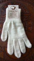 Adult Size, Baby Alpaca Gloves white