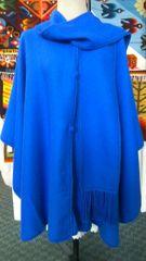 4 Button Alpaca cape with scarf blue