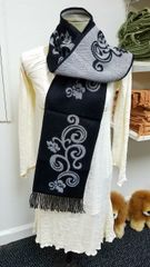 Black and White Swirl Design Scarf