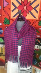 Houndstooth Alpaca Scarf, Blue & Red