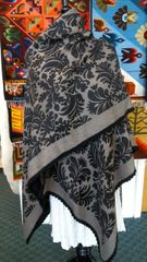 Baby Alpaca Ruana black and grey design