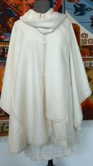 Four Button Alpaca Cape with Scarf, White