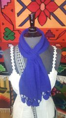 Hand Knit Baby Alpaca Pass Through Scarf, Blue