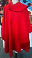 4 Button Alpaca cape with scarf red