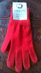Adult Size, Baby Alpaca Gloves bright red