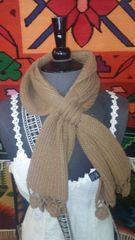 Hand Knit Baby Alpaca Pass Through Scarf, Brown
