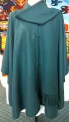 4 Button Alpaca cape with scarf green