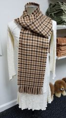 Brown/ Beige Houndstooth Scarf