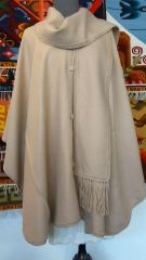 Four Button Alpaca Cape with Scarf, Camel