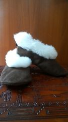 Handmade Slippers w/ white alpaca fur