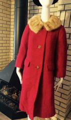 Red Boucle Wool Coat with Mink Collar 1950's