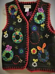 Christmas Novelty Vest Colorful Wreaths Perfect for Parties