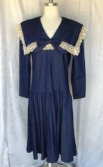 Gunne Sax Jessica McClintock Denim Wide Collar Dress