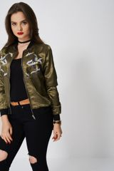 LIGHT BOMBER WITH EMBROIDERED BIRDS