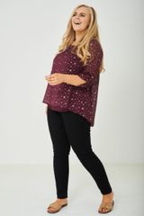 PLUS SIZE SPLIT BACK TOP IN GLITTER STARS EX BRAND