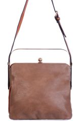 TRIPLE COMPARTMENT BROWN BAG WITH METALLIC HANDLE
