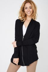 ZIP THROUGH KNITTED BLACK CARDIGAN