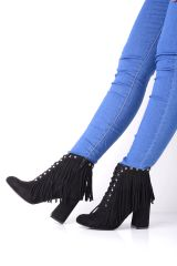 Fringed Cowboy Boots with Stud Detail