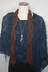 Blue Distressed Fabric Poncho