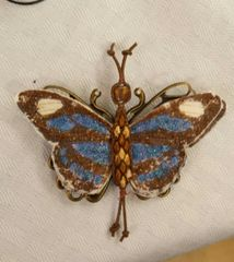 Brown, Blue, Cream Pin/Pendant Handpainted Fabric with Leather Bead Ladderwrapped Body