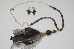 Black & Brown Tassel Pyrite & Tigers Eye Stone and Gold Bead Necklace with Matching Earrings
