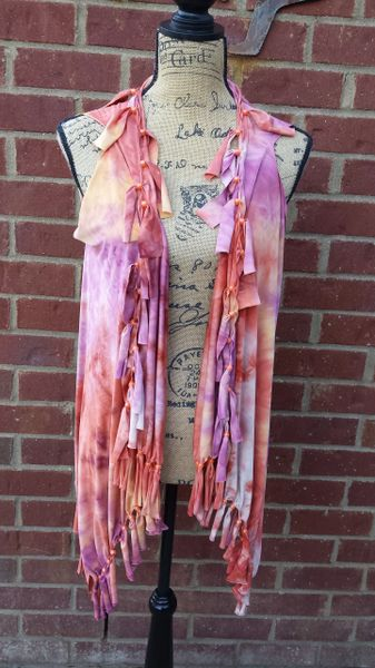 Purple and Orange Tie Dyed Fringe Vest with Beaded Fringe and Tuck Details