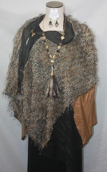 Patchwork Poncho - Leopard Chiffon, Black, Tan, Bronze