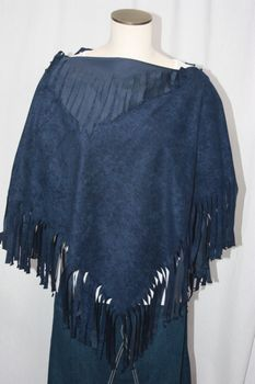 Handcrafted Navy Ultrasuede Fringed Poncho