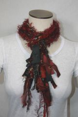 Burgundy and Black Yarn Pigtail Scarf with Fabric Embellishment