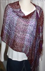 Woven Burgundy/Purple/White Vest/Poncho/Scarf with Tassel Accents