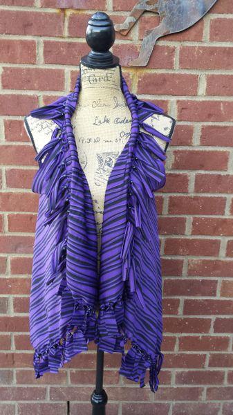 Black and Purple Striped Fringe Vest with Beaded Fringe and Tuck Details