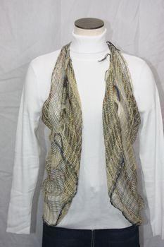 Woven Light Brown/Gold/Multi Thread Vest/Scarf