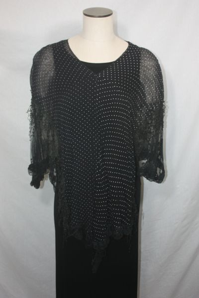 Black White Polka Dot Fabric with Lace Poncho