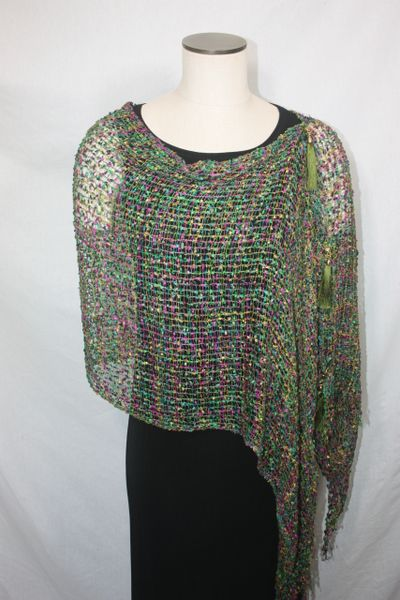 Woven Shades of Olive Green, Yellow, Purple Vest/Poncho/Scarf with Tassel Accents